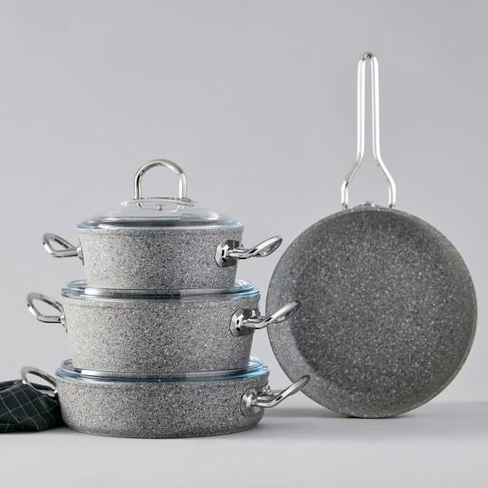 Karaca Silver Stone Bio Granit Metal Kulplu İndüksiyon Tabanlı 7 Parça Tencere Seti