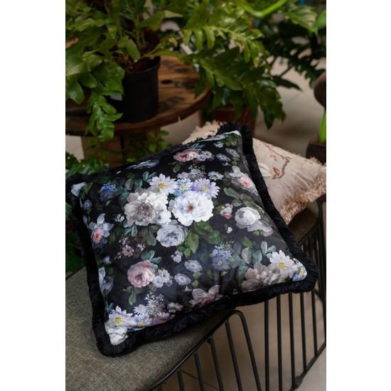Adawall Siyah Çiçek Dekoratif Kırlent