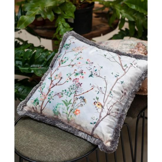 Adawall Gri Kuşlu Bahçe Dekoratif Kırlent