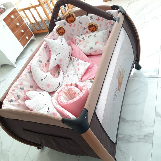 Babyte Bebek Uyku Seti 70X110 Park Beşik Pamuk 10 Parça Kelebekli