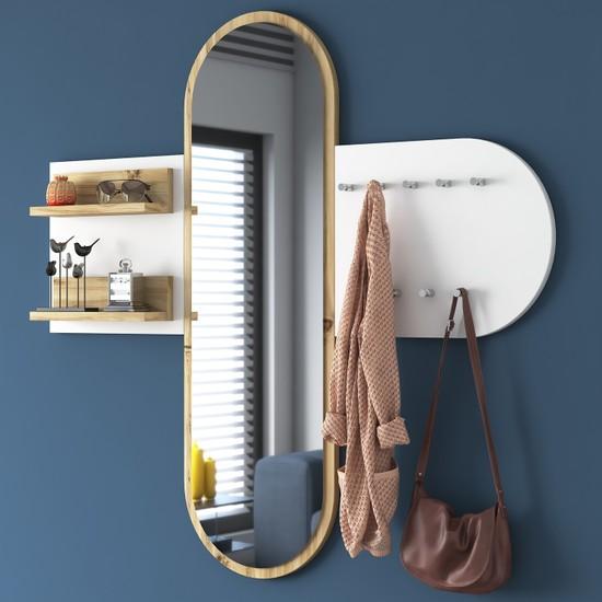 Rani P3 Aynalı Duvar Askısı Boy Aynası Keçe Ceviz Beyaz Vestiyer