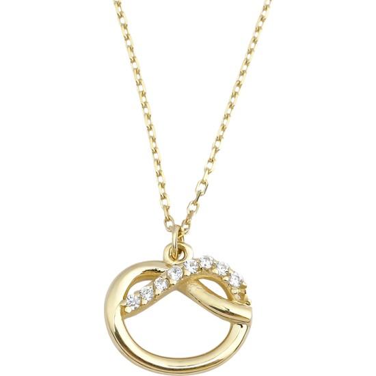Melike Gold 14 Ayar Altın Aşk Düğümü Taşlı Kolye