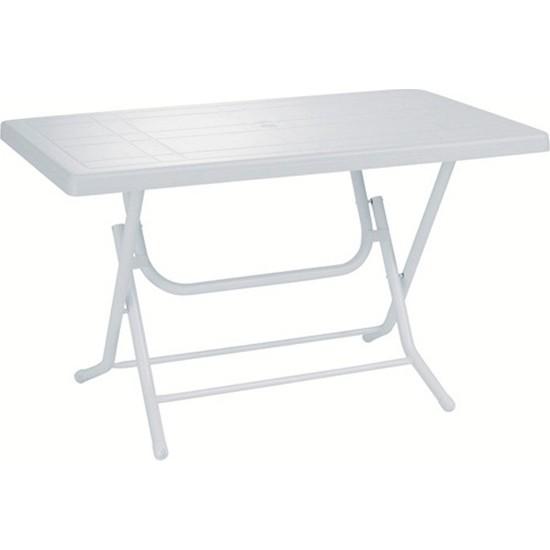 Cakha Evimdeyokyok Plastik Katlanır Masa Beyaz 70X120 cm Metal Ayak
