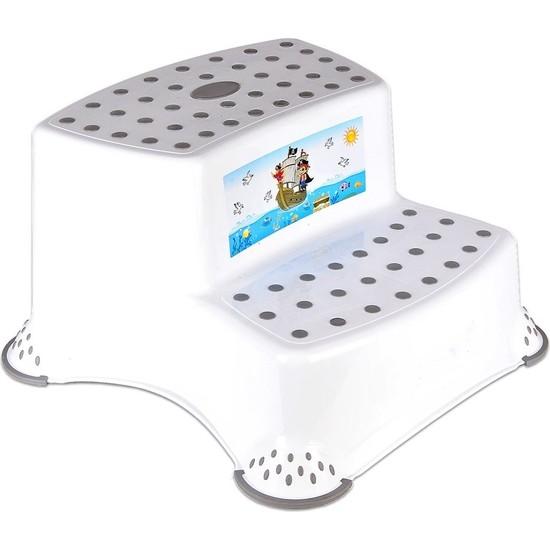 Işsevenler Kaydırmaz Çocuk Taburesi Çift Basamaklı Gri CM520, Çocuk Lavabo Basamağı