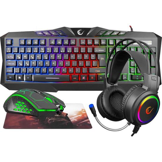 Rampage KM-404 Argentı Rainbow Aydınlatmalı USB Gaming Combo Q Klavye + Kulaklık + Mouse + Mousepad