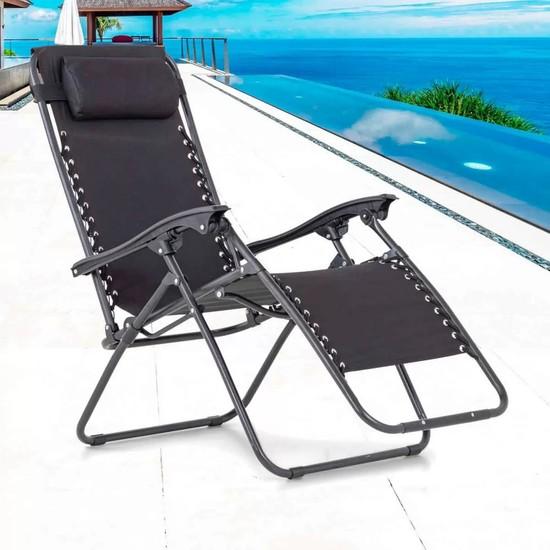Evinizin Atölyesi Metal Pozisyonlu Koltuk, Şezlong, Bahçe Sandalyesi