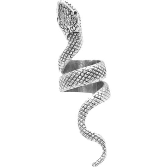 Labalaba Erkek Antik Gümüş Kaplama Dolama Model Yılan Formlu Ayarlanabilir Sağ Parmak Yüzük