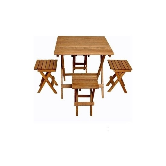 Pratik Katlanır Ahşap Masa Sandalye