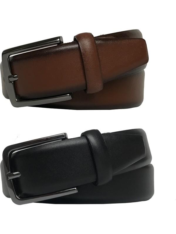 Go Deri 2'li Set Klasik Kumaş Pantolon Kemeri 3.5 cm Siyah, Taba