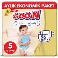 Goon Premium Soft Jumbo Beden:5 (12-20 Kg) Junior 96'lı (4 Paket x 24) Bebek Bezi