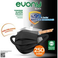Evony Black Elastik Kulaklı Siyah Maske 250 Adet