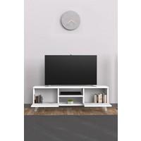 Mimilos Tu4 Ahşap Kapaklı Raflı Dekoratif Tv Ünitesi Sehpası Beyaz