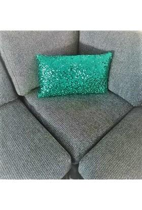 B&M Design Yeşil Dikdörtgen Paet Kırlent Kılıfı
