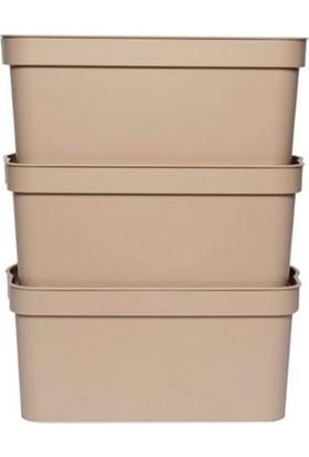 Nandy Home Dekoratif 7,5 Lt Oyuncak & Düzenleyici Kapaklı Saklama Kutusu Latte 3'lü Set