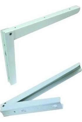 Adilon Katlanır L Masa Konsolu Beyaz 2 Adet ( 1 Takım ) 40 cm Raf Demiri