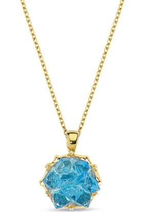 Lilarote Mavi Lotus Altın Kolye