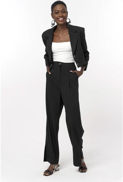 Coral Crop Ceket Pantolon Takım Siyah