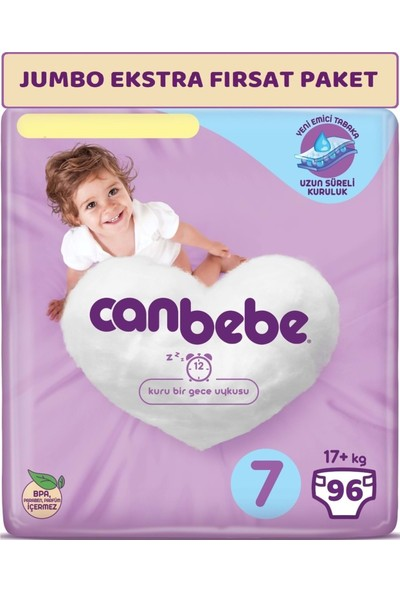 Canbebe Bebek Bezi Beden:7 (17+Kg) Xx Large 96'lı Jumbo Ekstra Fırsat Paketi