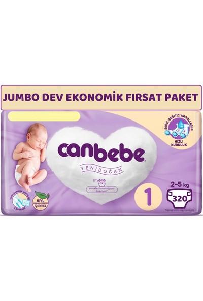Canbebe Bebek Bezi Beden:1 (2-5kg) Yeni Doğan 320'li Jumbo Dev Ekonomik Fırsat Paketi