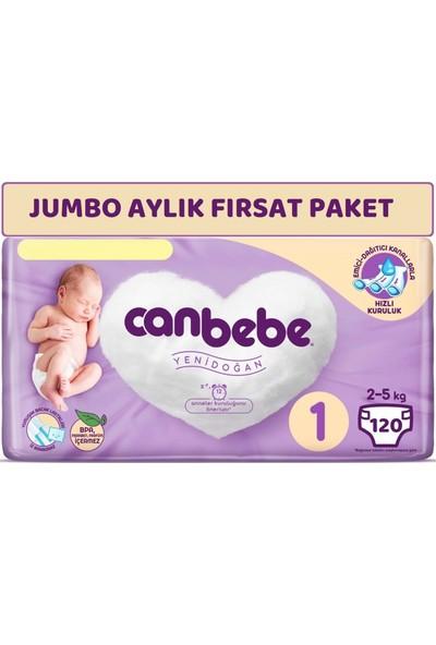 Canbebe Bebek Bezi Beden:1 (2-5kg) Yeni Doğan 120'li Jumbo Aylık Fırsat Paketi