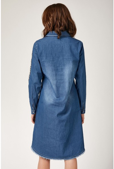 New Laviva Uzun Kollu Mavi Kadın Tunik
