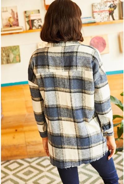 New Laviva Ekose Desenli Uzun Kollu Oduncu Mavi Kadın Gömlek