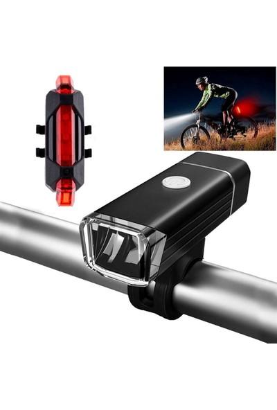 Cooltech Bisiklet Işığı USB Şarjlı Alüminyum Su Geçirmez LED Işık El Feneri Ön Arka Set