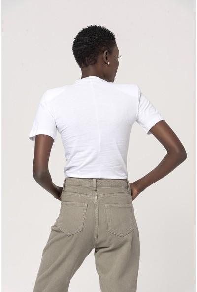 Coral Pamuklu T-Shirt Body Beyaz