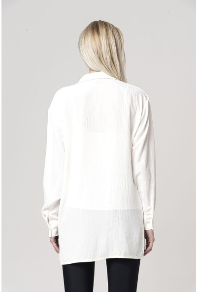 Coral Atlet Detaylı Bluz Beyaz