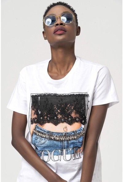 Coral Dantelli Kot Baskılı T-Shirt Beyaz