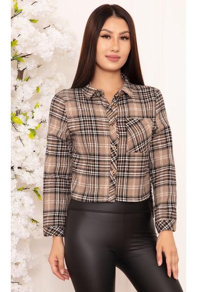 Kalopya Kadın Ekose Crop Gömlek 20-17104