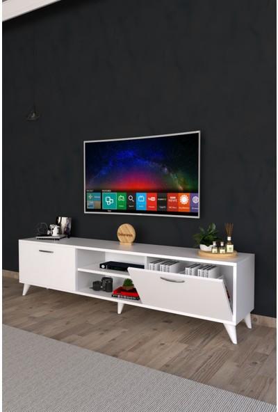 Dekoranya Ab1 Tv Ünitesi Modern Ayaklı Tv Sehpası 180CM Beyaz