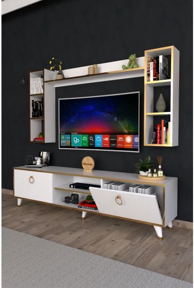 Dekoranya Abg2 Duvar Raflı Kitaplıklı Tv Ünitesi Duvara Monte Dolaplı Modern Ayaklı Tv Sehpası 180CM Beyaz-Gold