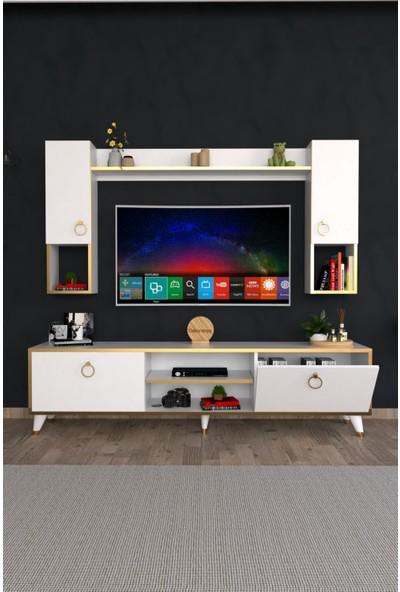 Dekoranya Abg3 Duvar Raflı Kitaplıklı Tv Ünitesi Duvara Monte Dolaplı Modern Ayaklı Tv Sehpası 180CM Beyaz-Gold
