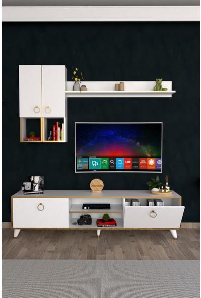 Dekoranya Abg6 Duvar Raflı Kitaplıklı Tv Ünitesi Duvara Monte Dolaplı Modern Ayaklı Tv Sehpası 180CM Beyaz-Gold