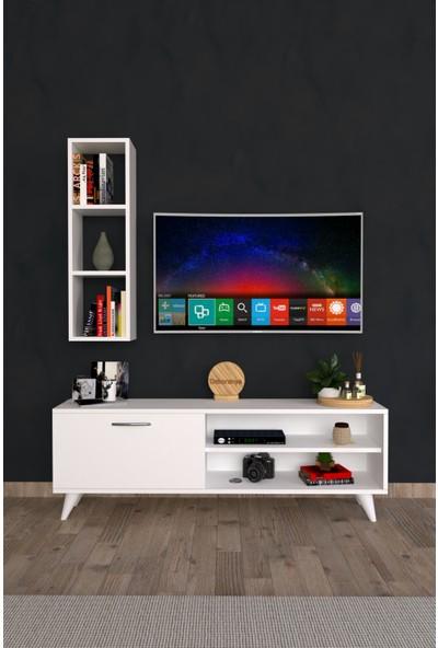 Dekoranya Cb2 Duvar Raflı Kitaplıklı Tv Ünitesi Duvara Monte Dolaplı Modern Ayaklı Tv Sehpası 120CM Beyaz