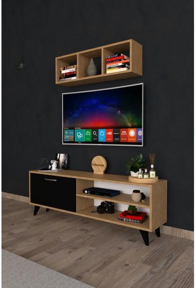 Dekoranya Css3 Duvar Raflı Kitaplıklı Tv Ünitesi Duvara Monte Dolaplı Modern Ayaklı Tv Sehpası 120CM Safir Meşe-Siyah