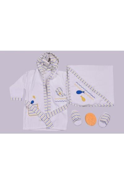 Bebitof Erkek Bebek Bornoz Takımları 0-3 Yaş_beyaz