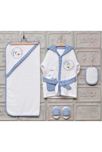 Bebitof Erkek Bebek Beyaz Bornoz Takımı 0-3 Yaş_beyaz