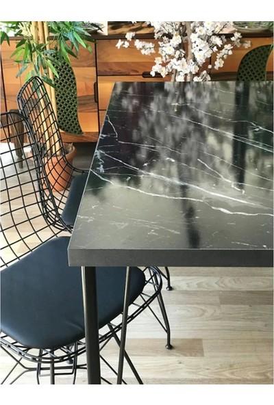 Yemek Masası Mutfak Salon Yemek Masası Mermer Desenli 120X80 cm