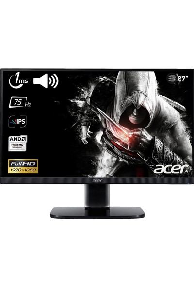 "Acer KA272Abmiix ZeroFrame 27"" 75Hz 1ms (HDMI+Analog) FreeSync Full HD IPS Monitör"