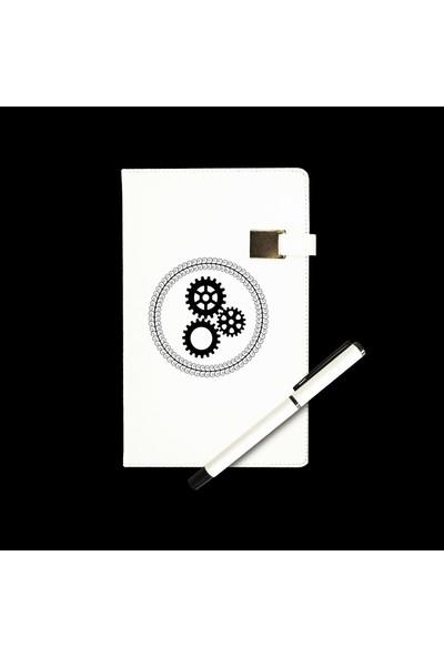 Mybamba Mühendislere Özel Çizgili Ajanda + Roller Kalem Beyaz
