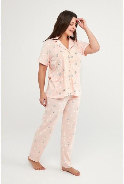 Penti Pembe Cats And Dots Gömlek Pantolon Takımı