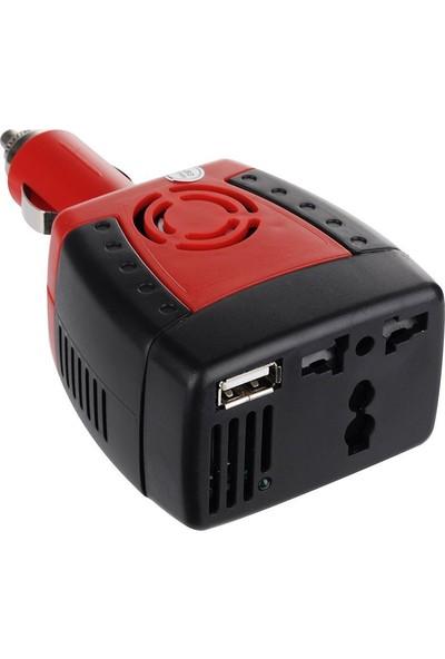 Wozlo 150W Araç Çakmak Power Inverter 12V To 220V Invertör Çevirici Dönüştürücü + USB Port