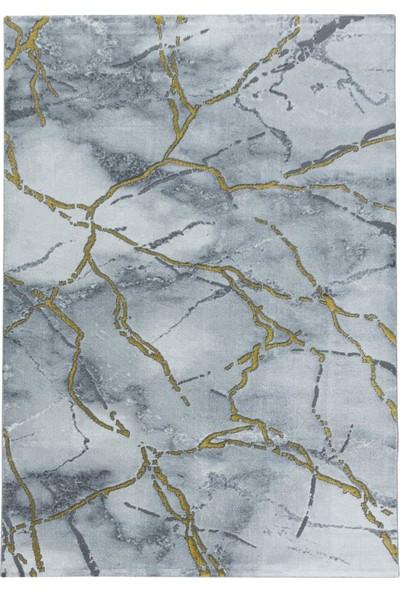 Ayyıldız Modern Karma Abstrak Çizgili Mermer Desenli Halı Gold Altın Gri Beyaz