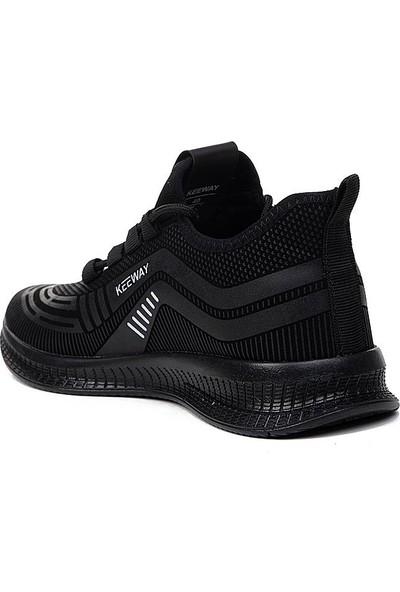 Keeway Garajmen Siyah Günlük Streçli Yürüyüş Erkek Spor Ayakkabı