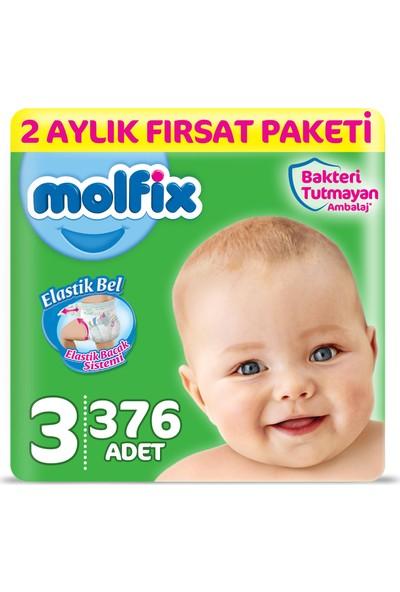 Molfix Bebek Bezi 3 Beden Midi 2 Aylık Fırsat Paketi 376 adet