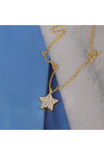 Coşar Silver Zirkon Taşlı Pırlanta Montür Yıldız Gümüş Kolye