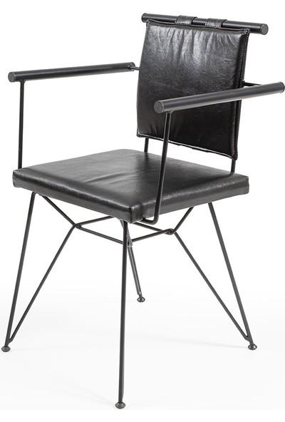 Hamdeko Loft Metal Ahşap Sandalye Metal Kollu