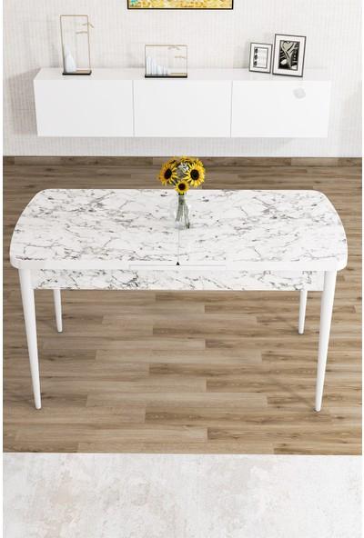 Rovena Zeta Serisi Mdf Beyaz Mermer Desenli Açılabilir Ahşap Ayaklı Masa Takımı/beyaz Mermer Desenli Masa+8 Adet Sandalye